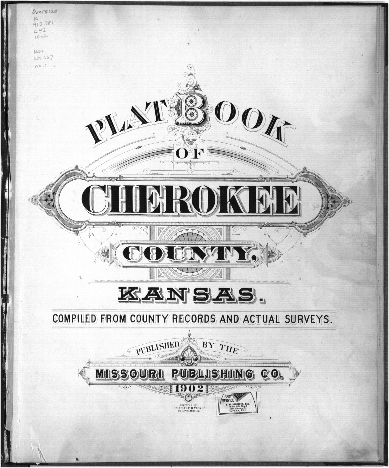 Plat book, Cherokee County, Kansas - Title Page