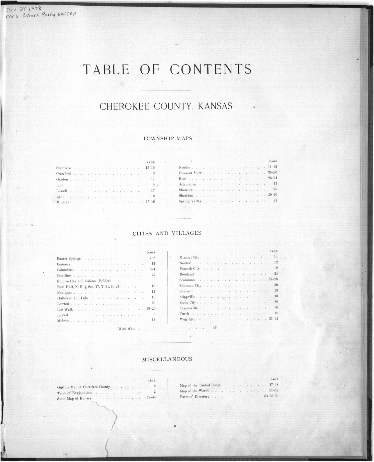 Plat book, Cherokee County, Kansas - Table of Contents