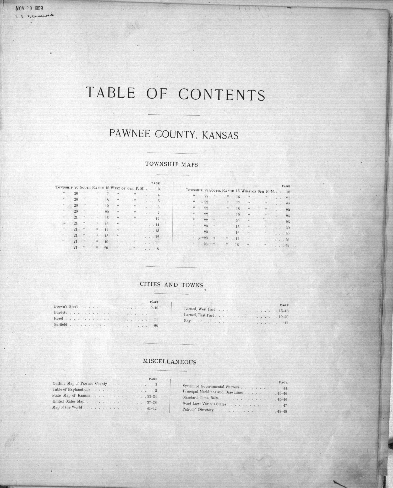 Plat book of Pawnee County, Kansas - Table of Contents