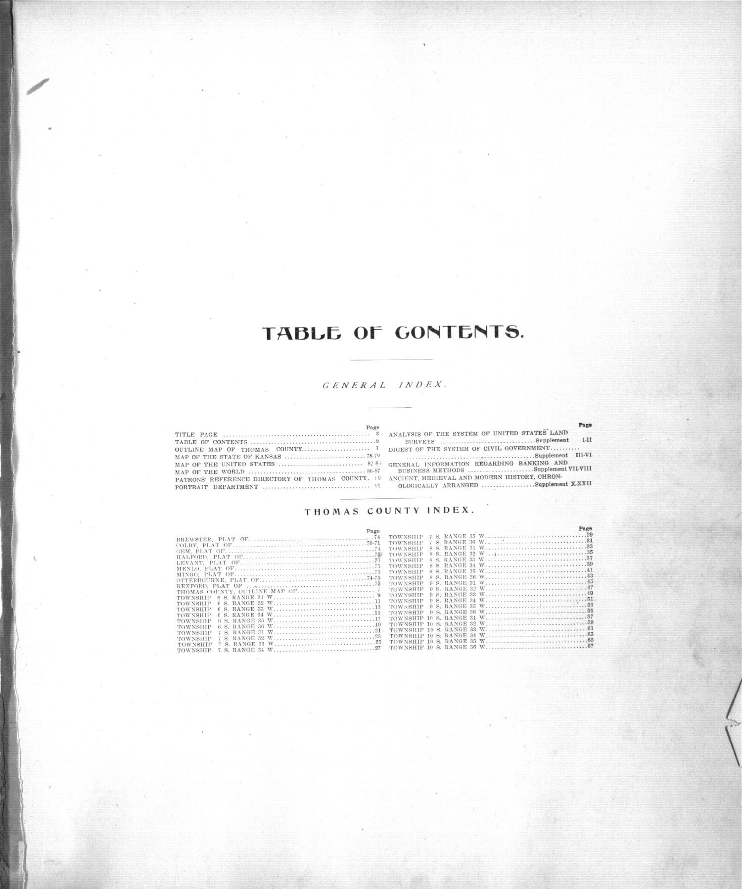 Standard atlas of Thomas County, Kansas - Table of Contents