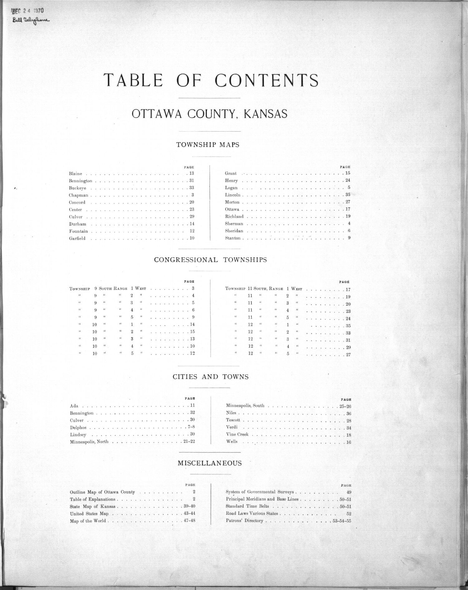 Plat book of Ottawa County, Kansas - Table of Contents