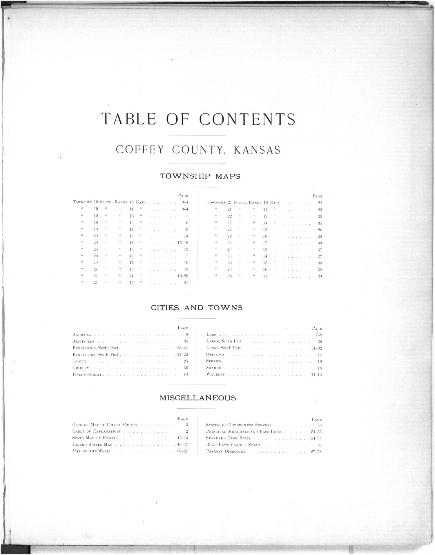Plat book, Coffey County, Kansas - Table of Contents