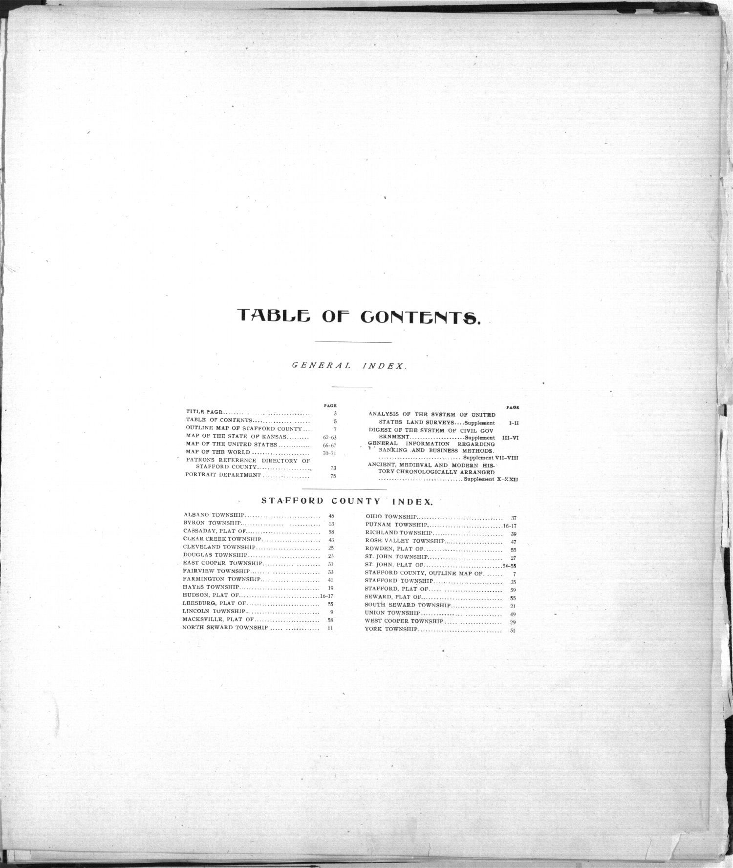 Standard atlas of Stafford County, Kansas - Table of Contents