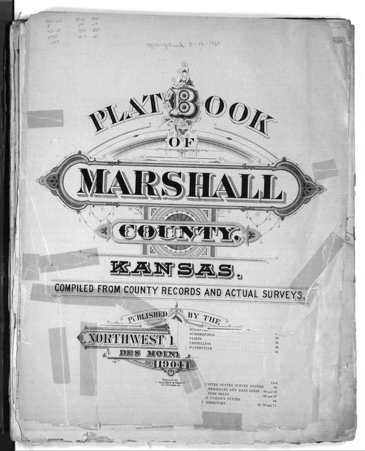 Plat book of Marshall County, Kansas - Title Page