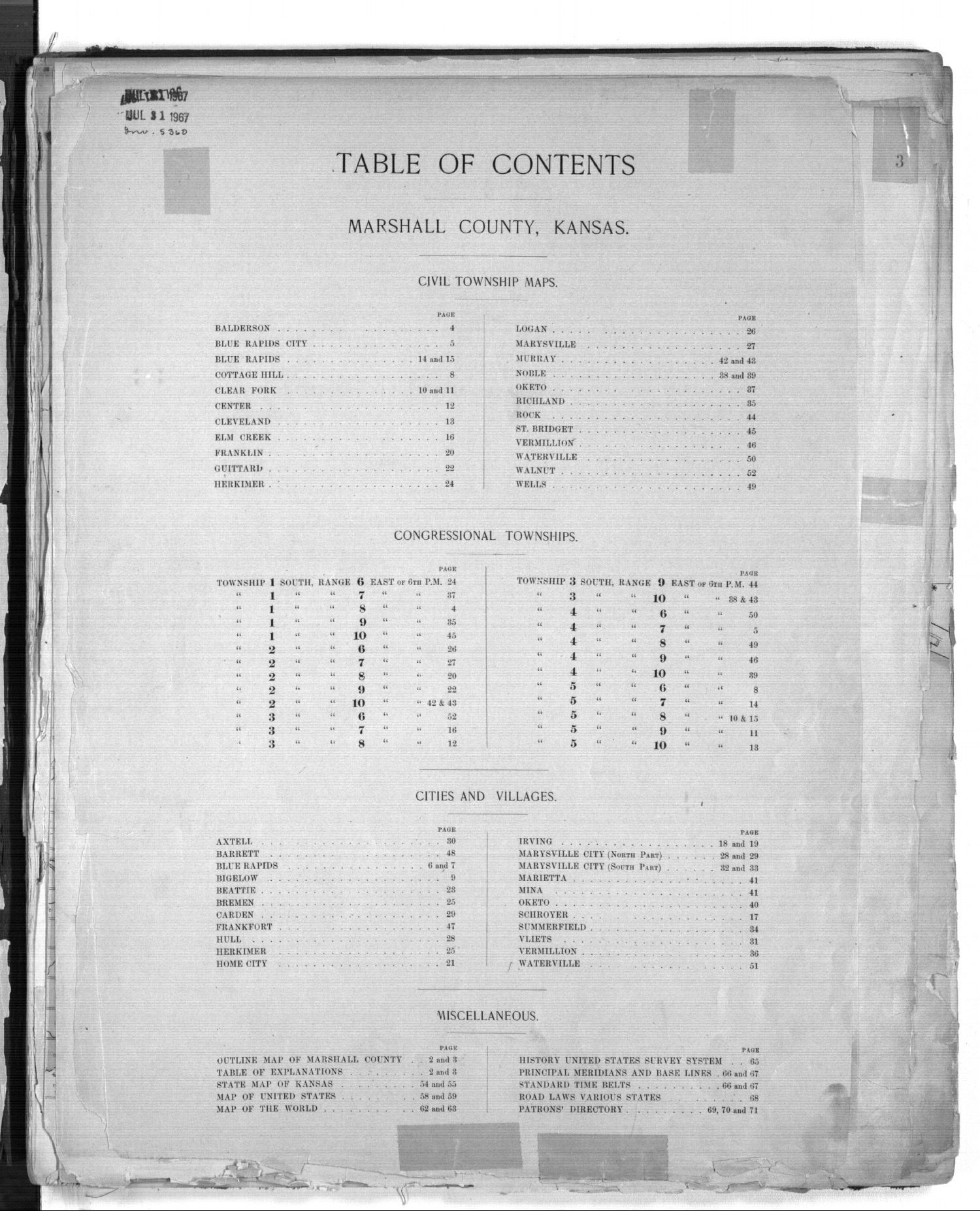 Plat book of Marshall County, Kansas - Table of Contents