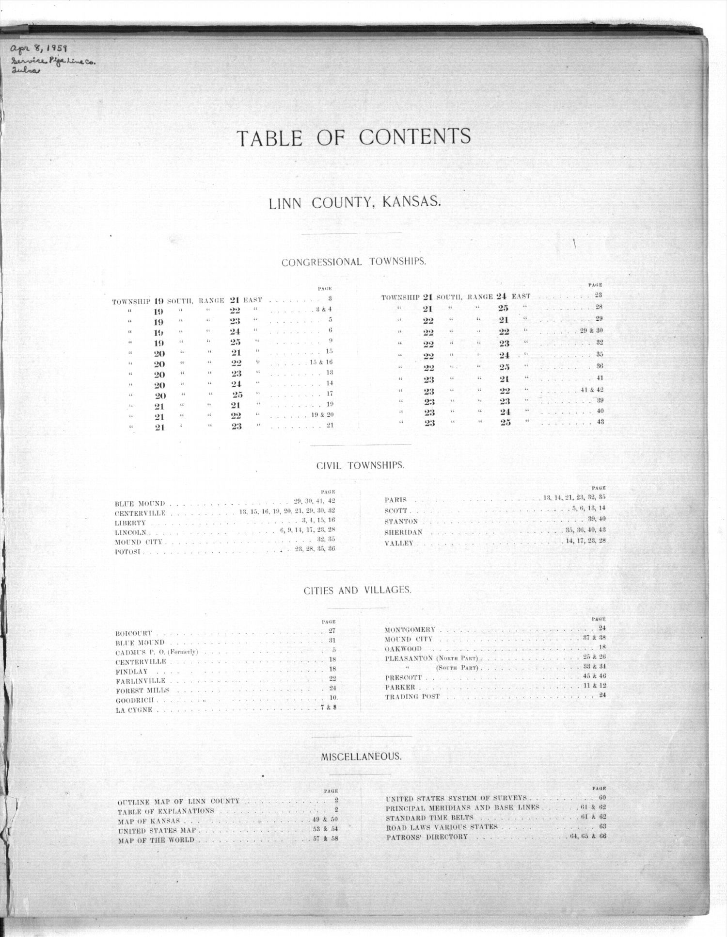 Plat book of Linn County, Kansas - Table of Contents