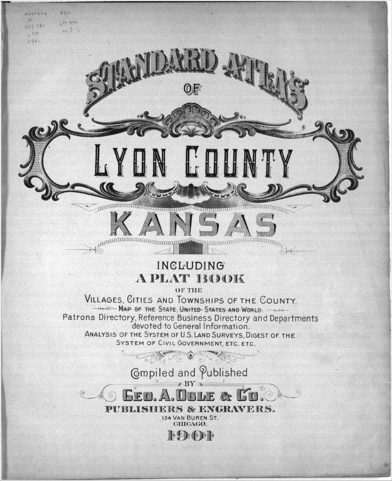 Standard atlas, Lyon County, Kansas - Title Page