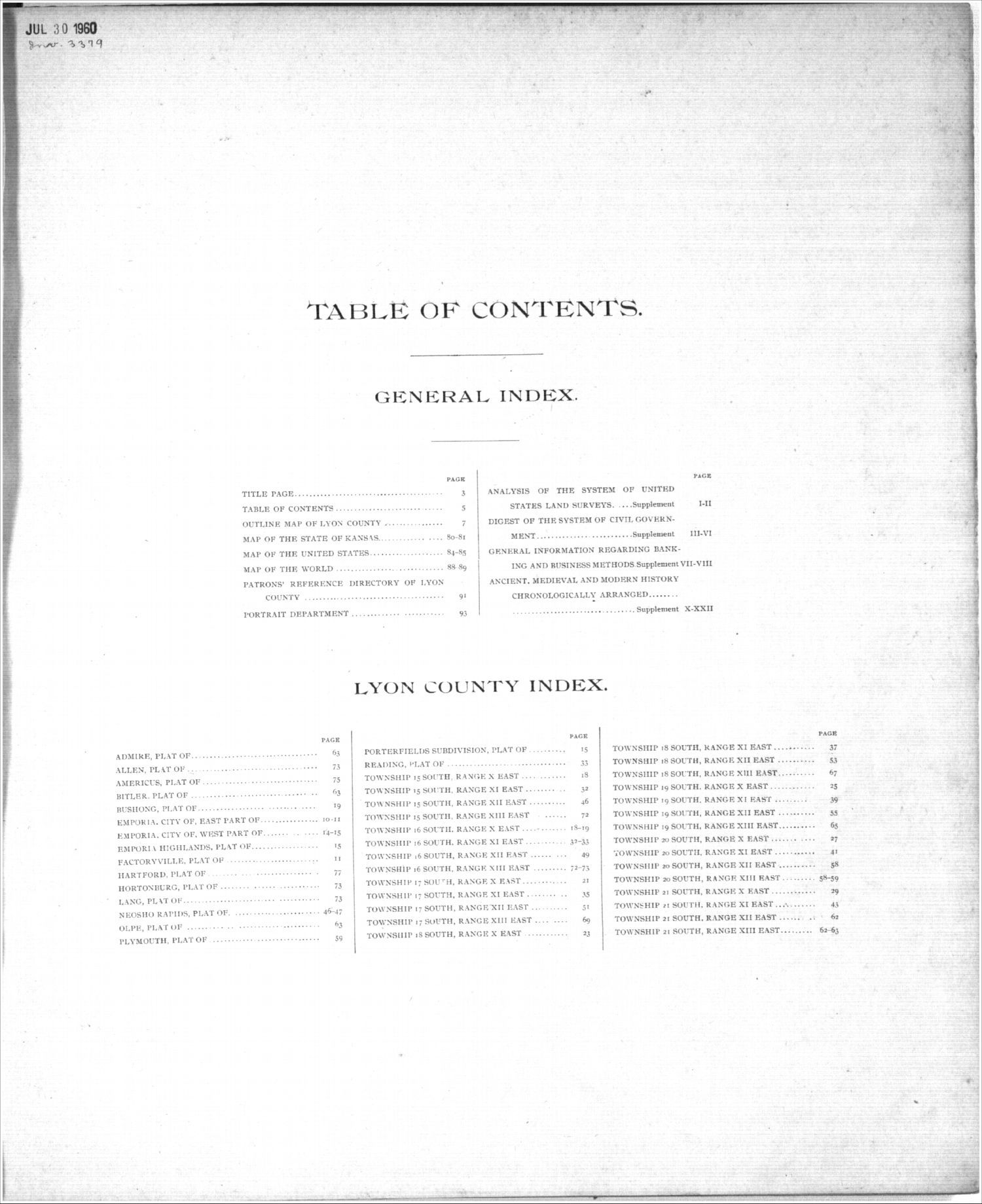 Standard atlas, Lyon County, Kansas - Table of Contents