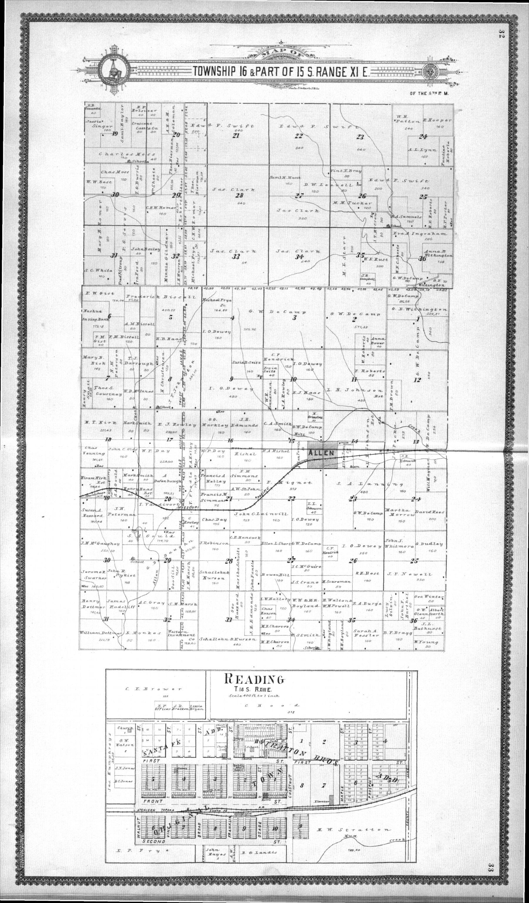 Standard atlas, Lyon County, Kansas - 32 & 33