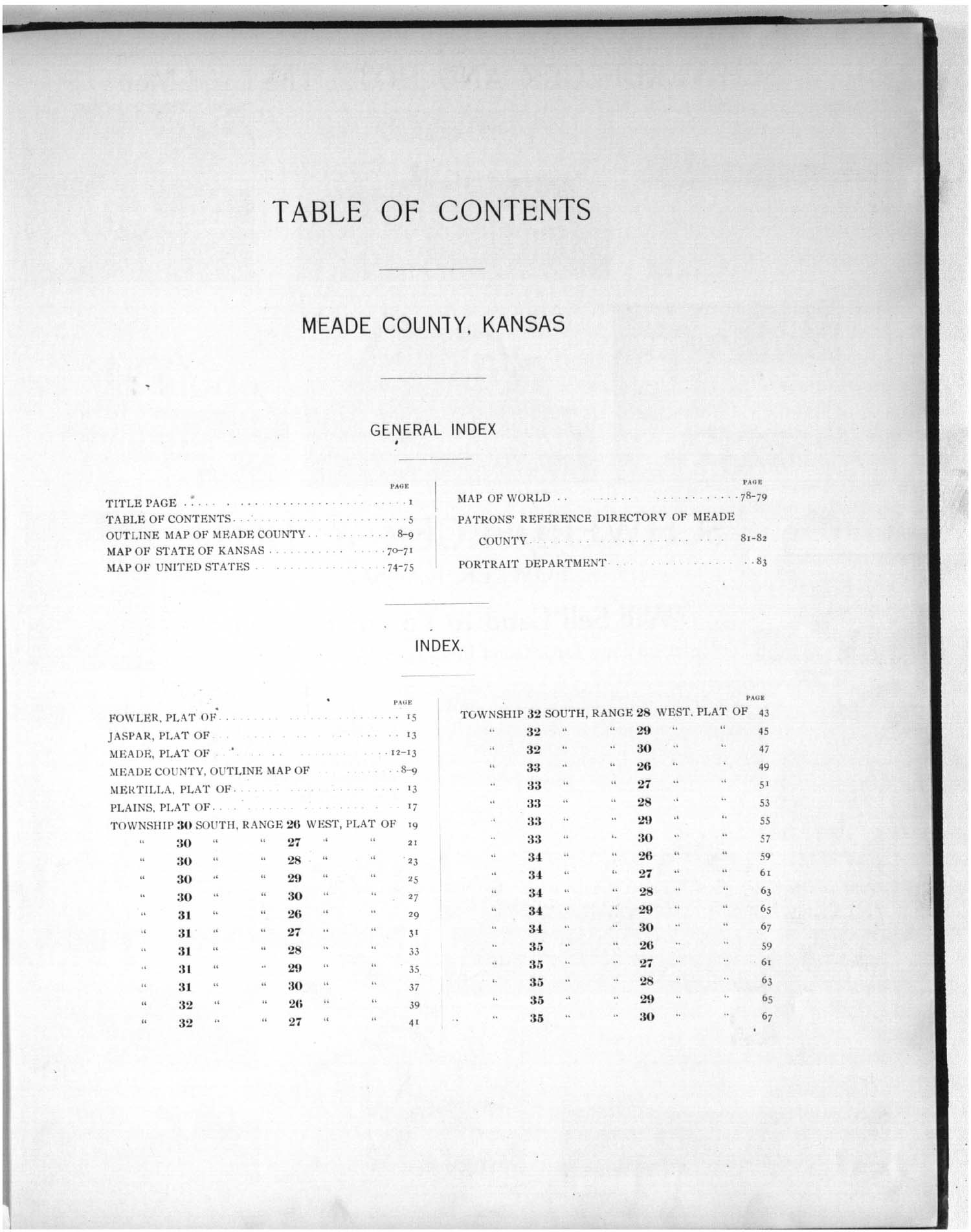 Plat book of Meade County, Kansas - Table of Contents