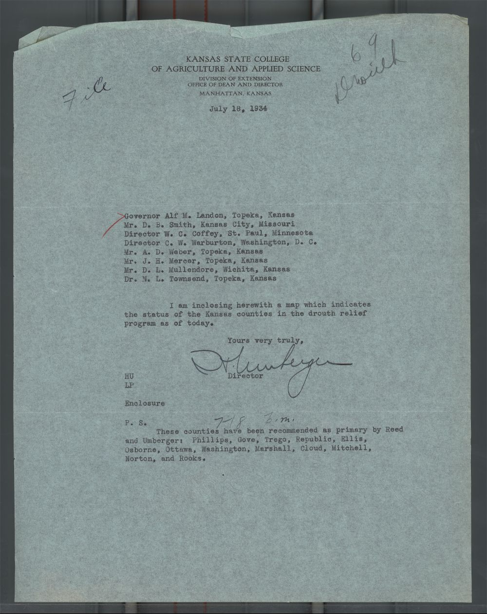 Harry Umberger to Governor Alf Landon - 1