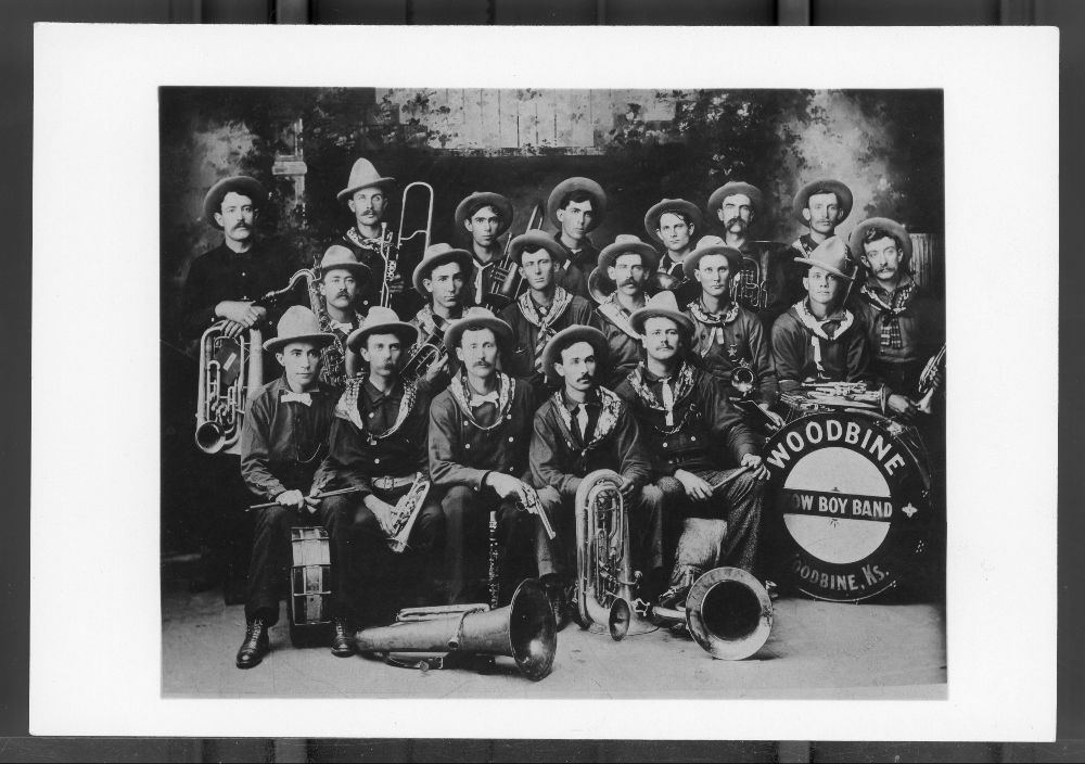 Photo of the Woodbine Cowboy Band, 1897 or 1898