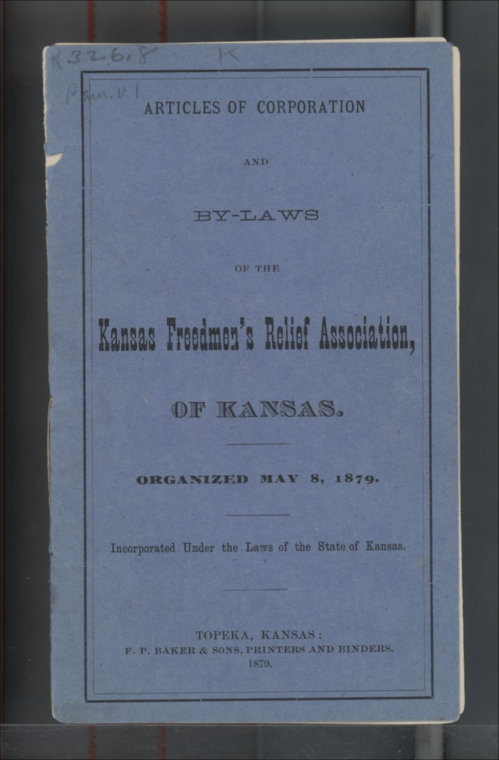 Articles of Corporation and By-Laws of the Kansas Freedmen's Relief Association - Front Cover