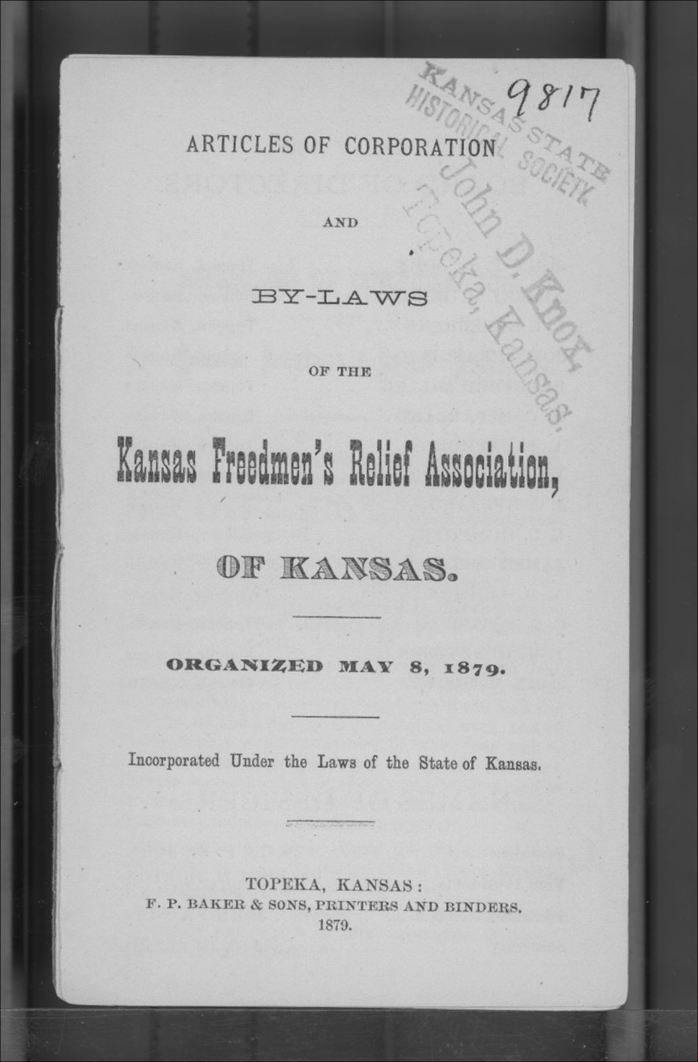 Articles of Corporation and By-Laws of the Kansas Freedmen's Relief Association - Title Page