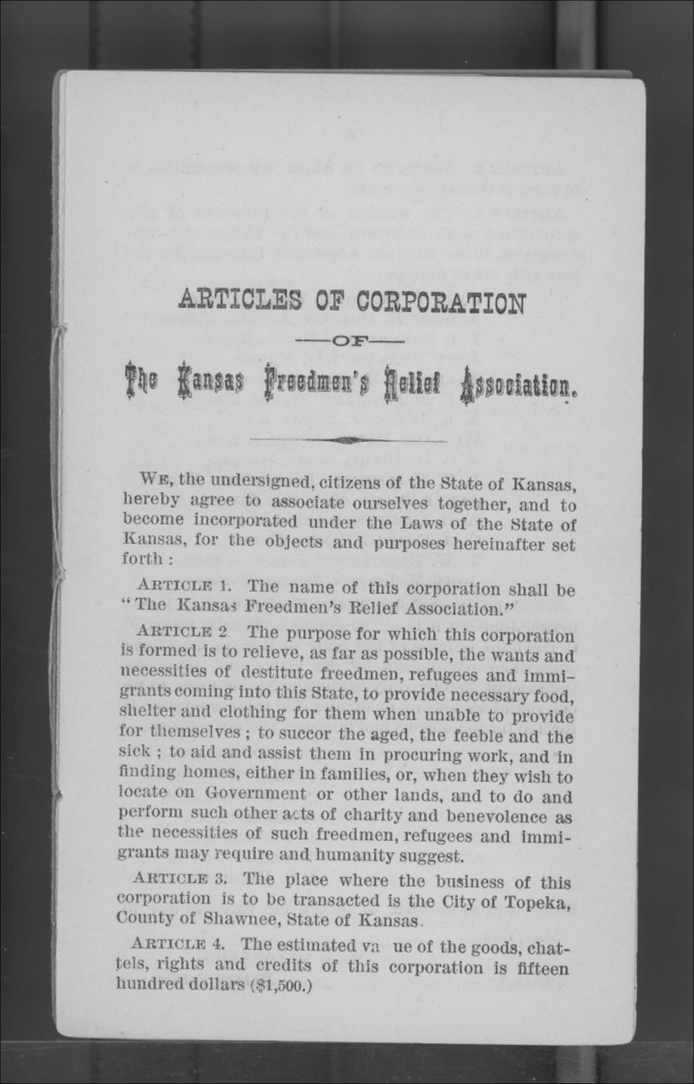 Articles of Corporation and By-Laws of the Kansas Freedmen's Relief Association - 3