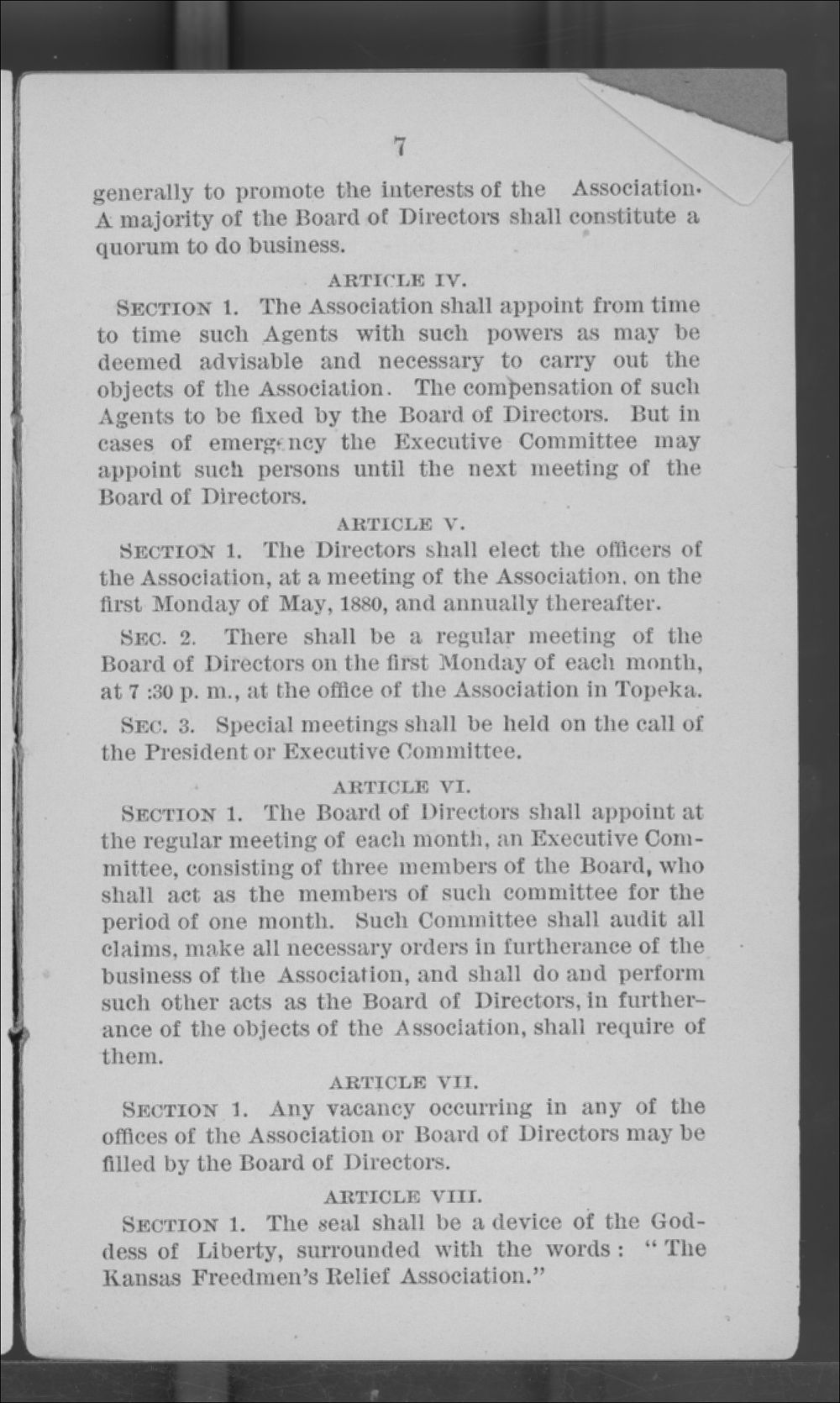Articles of Corporation and By-Laws of the Kansas Freedmen's Relief Association - 7