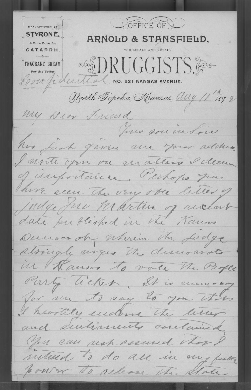 A. J. Arnold to Joseph Hebbard - 1