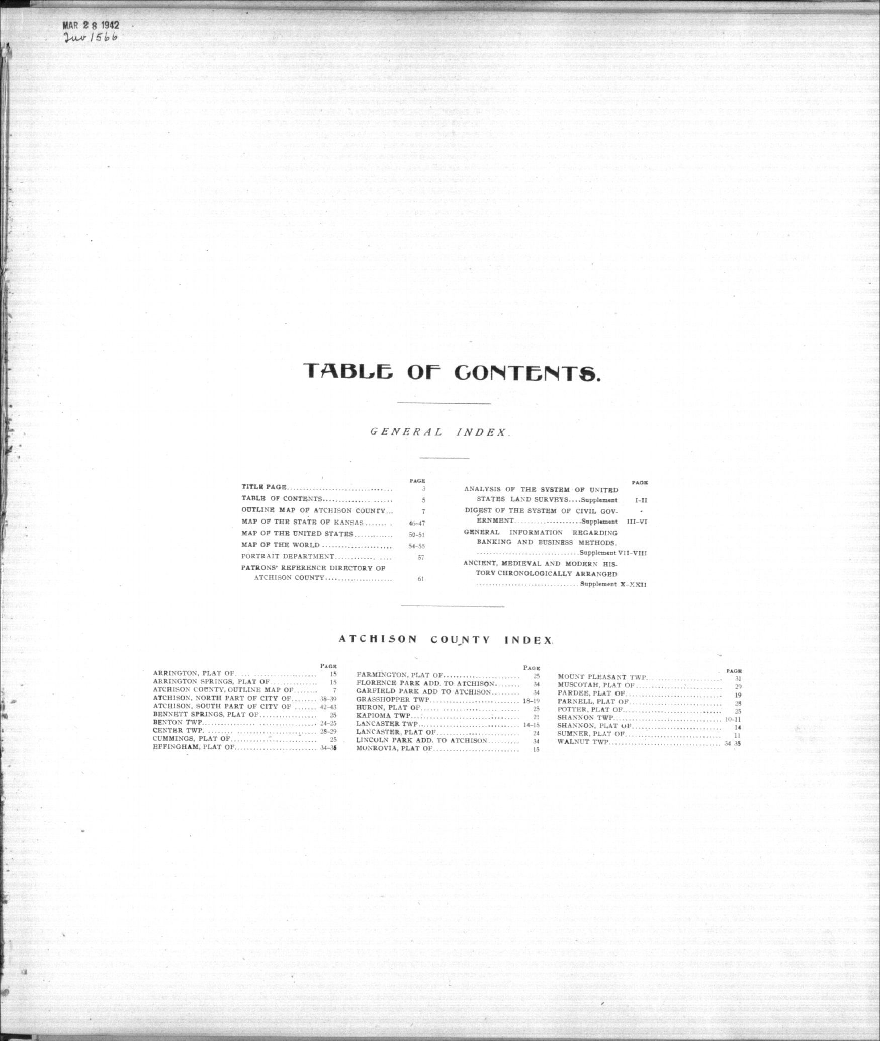 Standard atlas of Atchison County, Kansas - Table of Contents