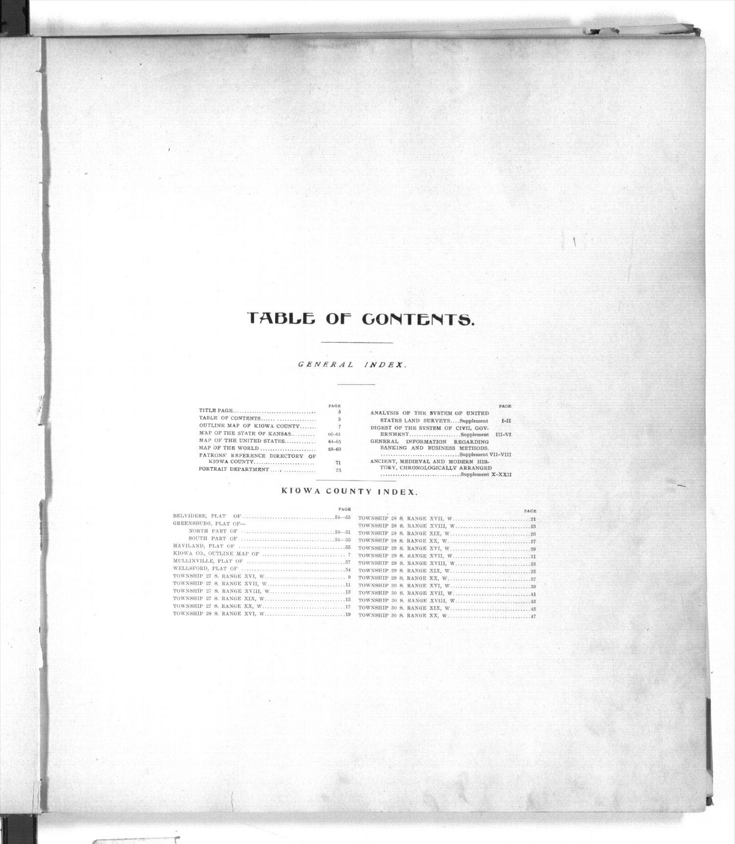 Standard atlas of Kiowa County, Kansas - Table of Contents