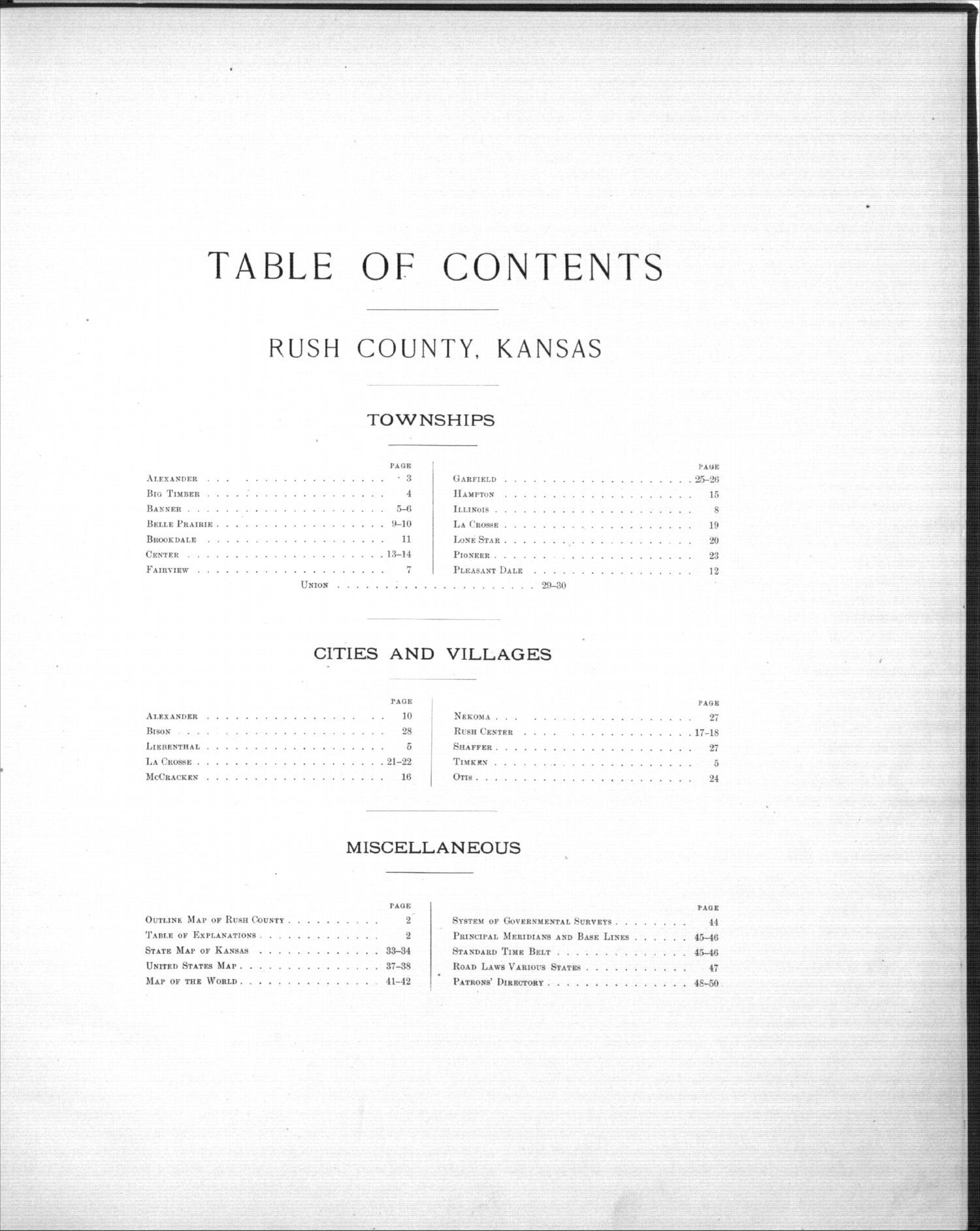 Plat book, Rush County, Kansas - Table of Contents