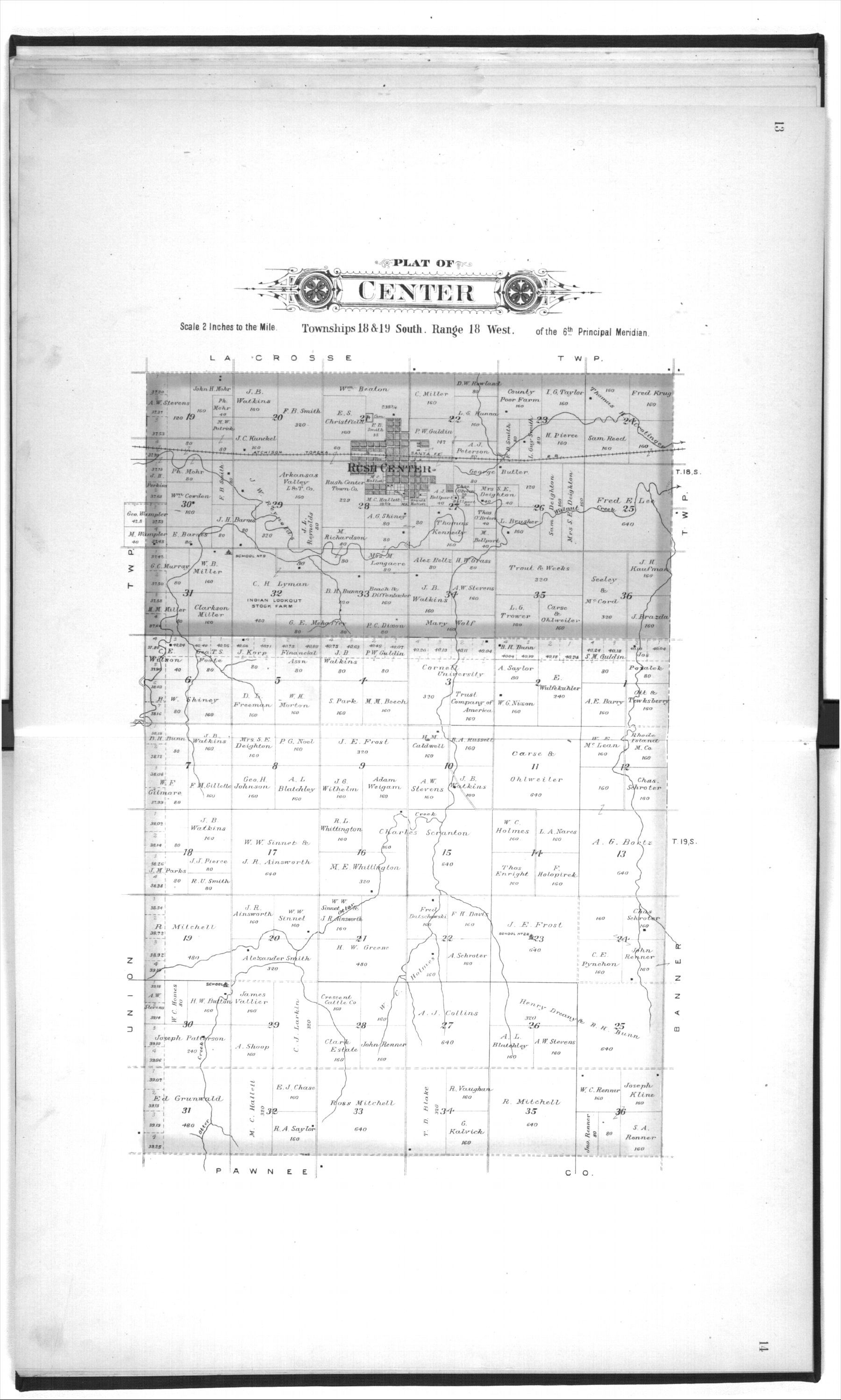 Plat book, Rush County, Kansas - 13 &14