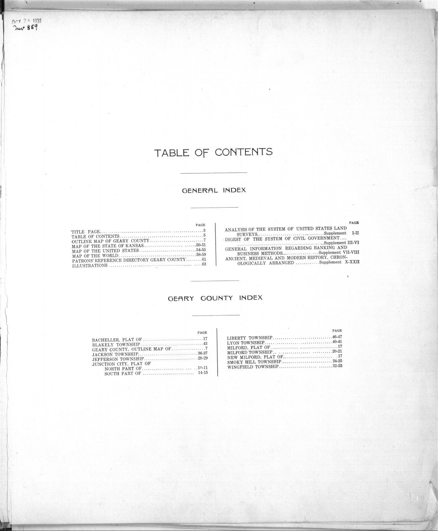 Standard atlas of Geary County, Kansas - Table of Contents