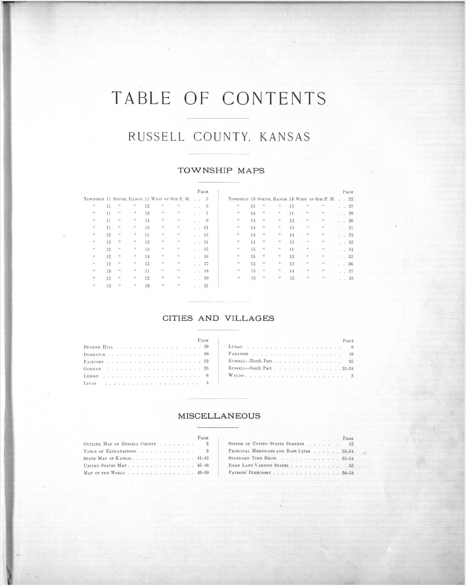 Plat book, Russell County, Kansas - Table of Contents