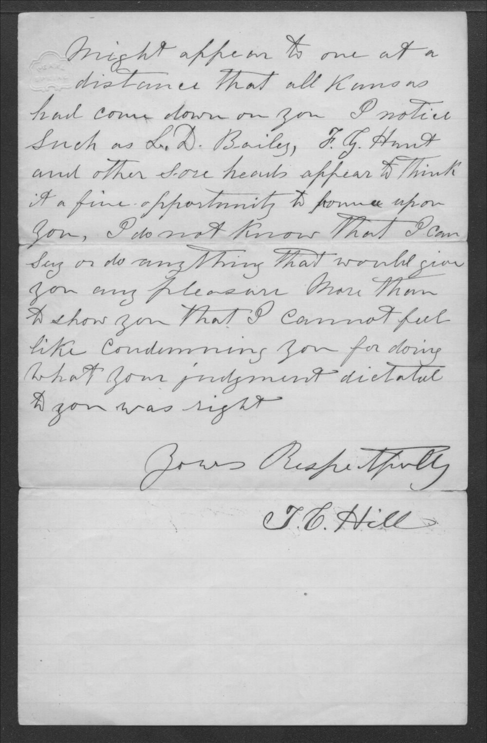 T.C. Hill to Senator Edmund G. Ross - 2