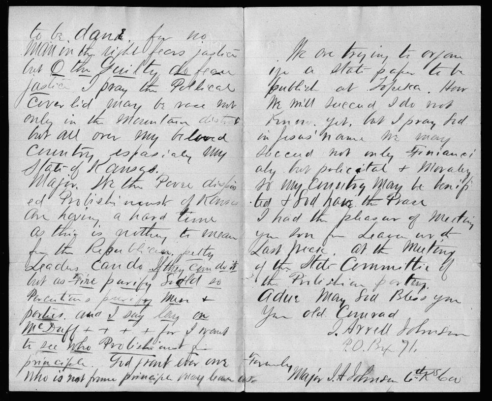 John Arrell Johnson to Edmund G. Ross - 2 & 3