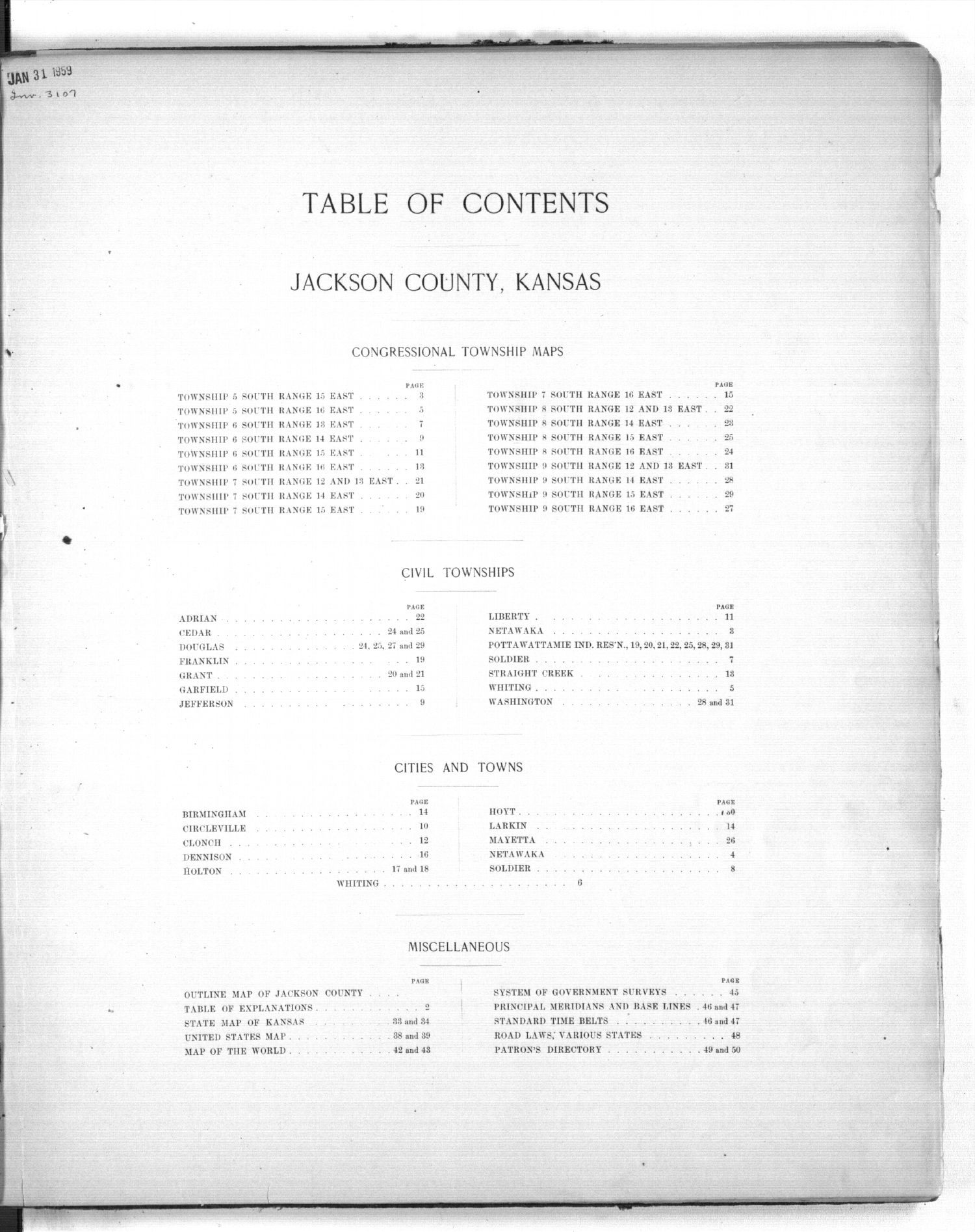 Plat book of Jackson County, Kansas - Table of Contents