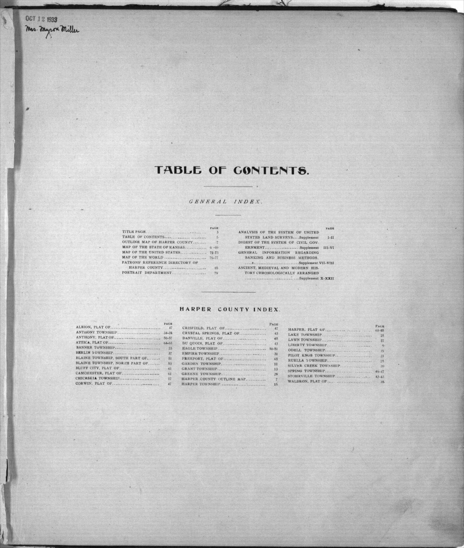 Standard atlas of Harper County, Kansas - Table of Contents