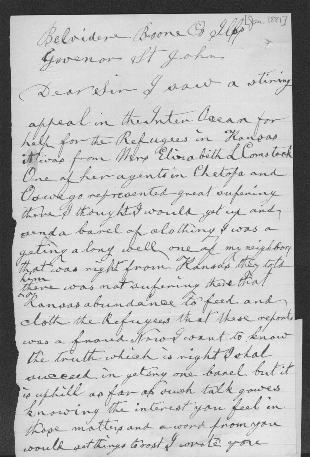 J. Lincoln to John P. St. John - 1