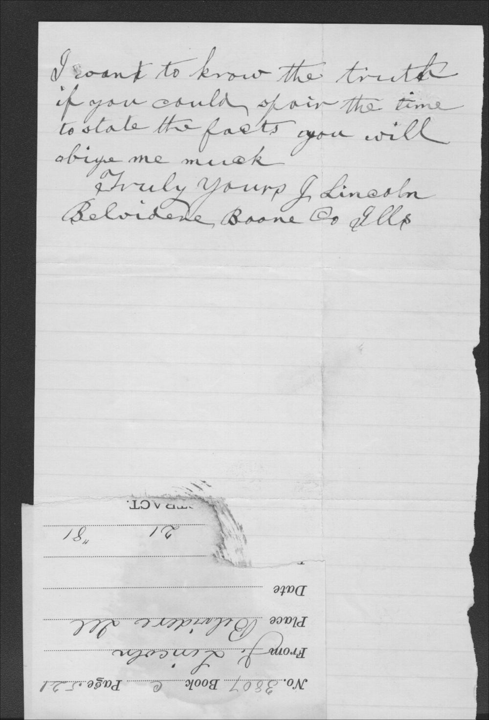 J. Lincoln to John P. St. John - 2