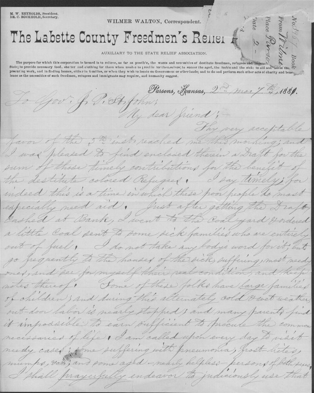 Wilmer Walton to John P. St. John - 1