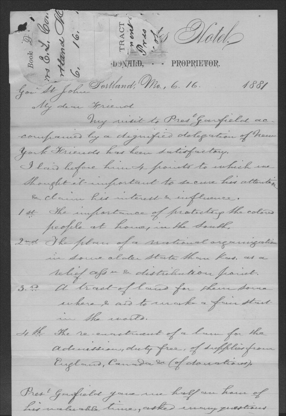 Elizabeth Comstock to John P. St. John - 1