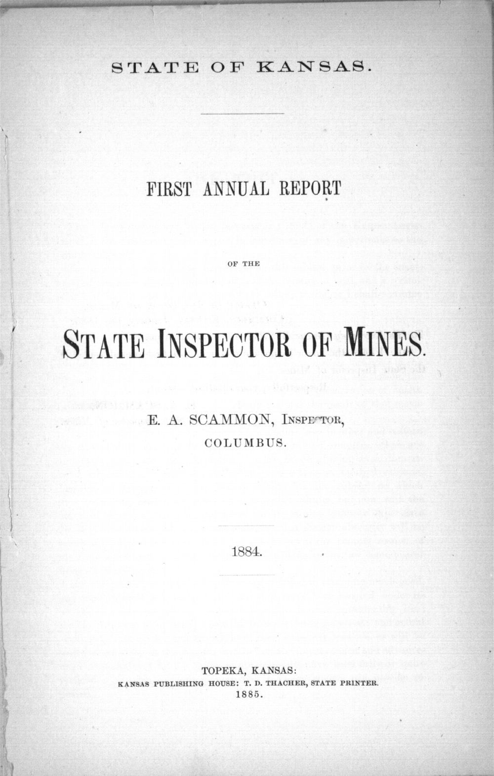State inspector of coal mines reports - Title Page for 1884