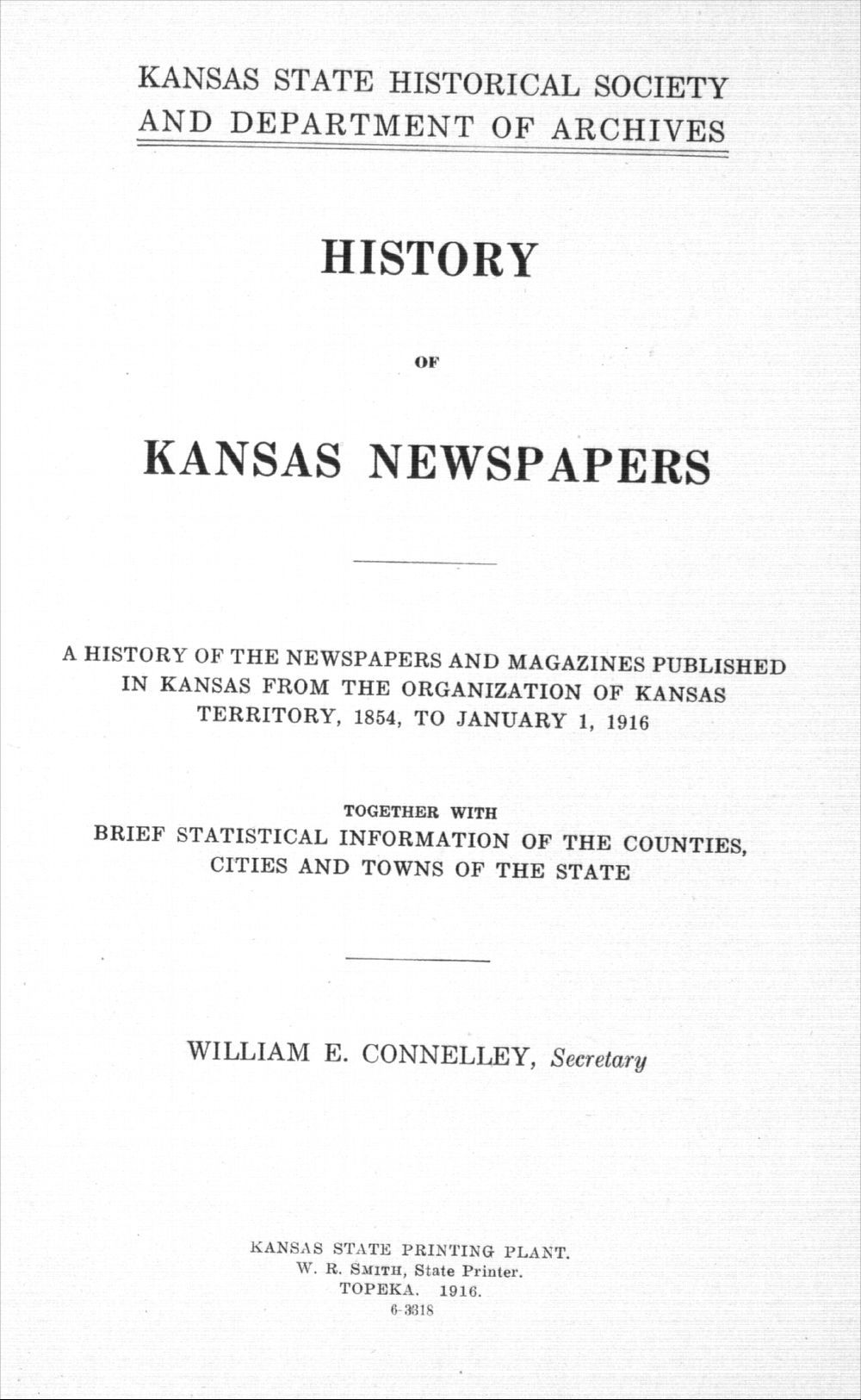 History of Kansas newspapers - Title Page