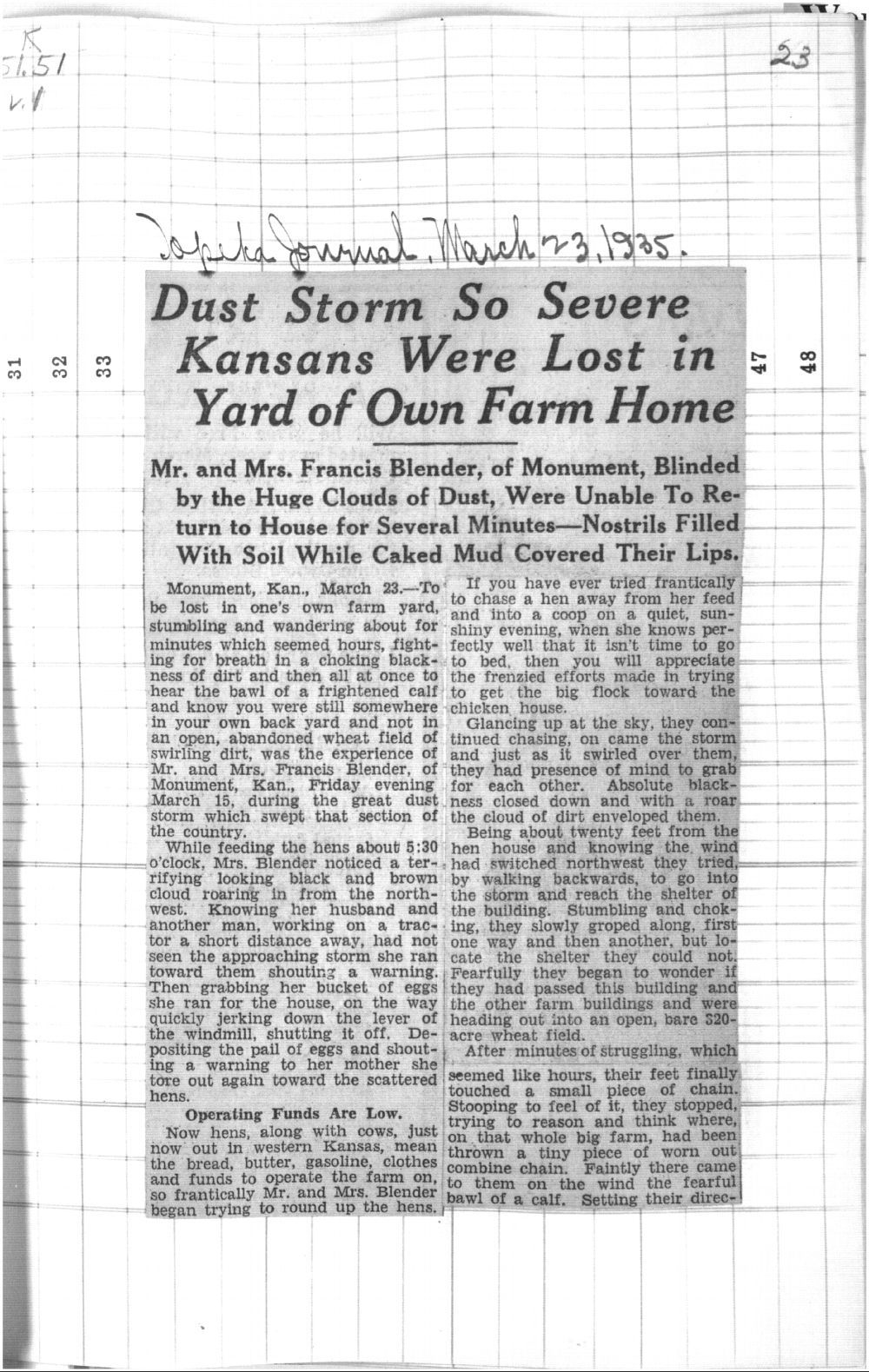 Dust storm so severe Kansans were lost in yard of own farm home - 23