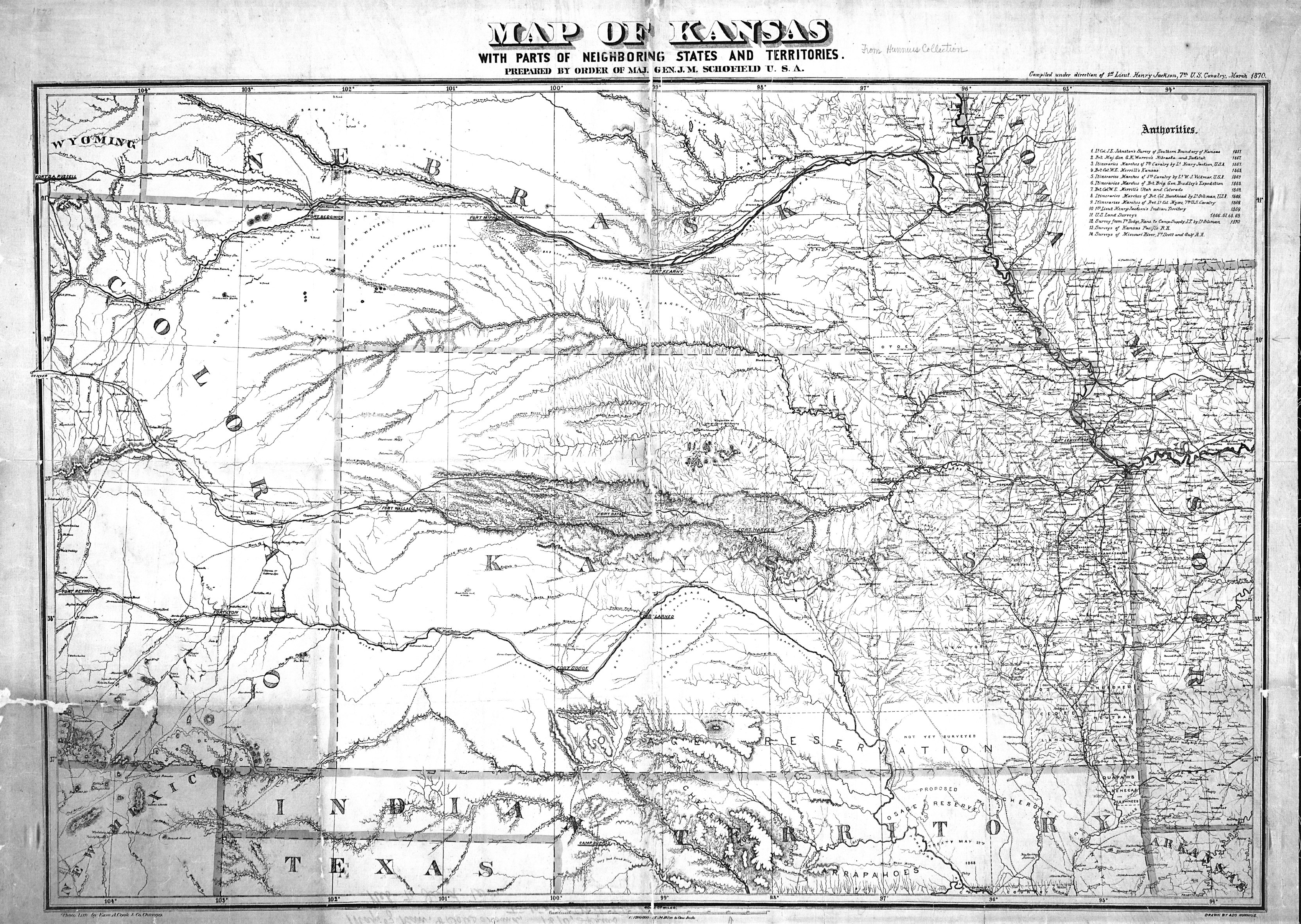 Map of Kansas, with parts of neighboring states and territories ...