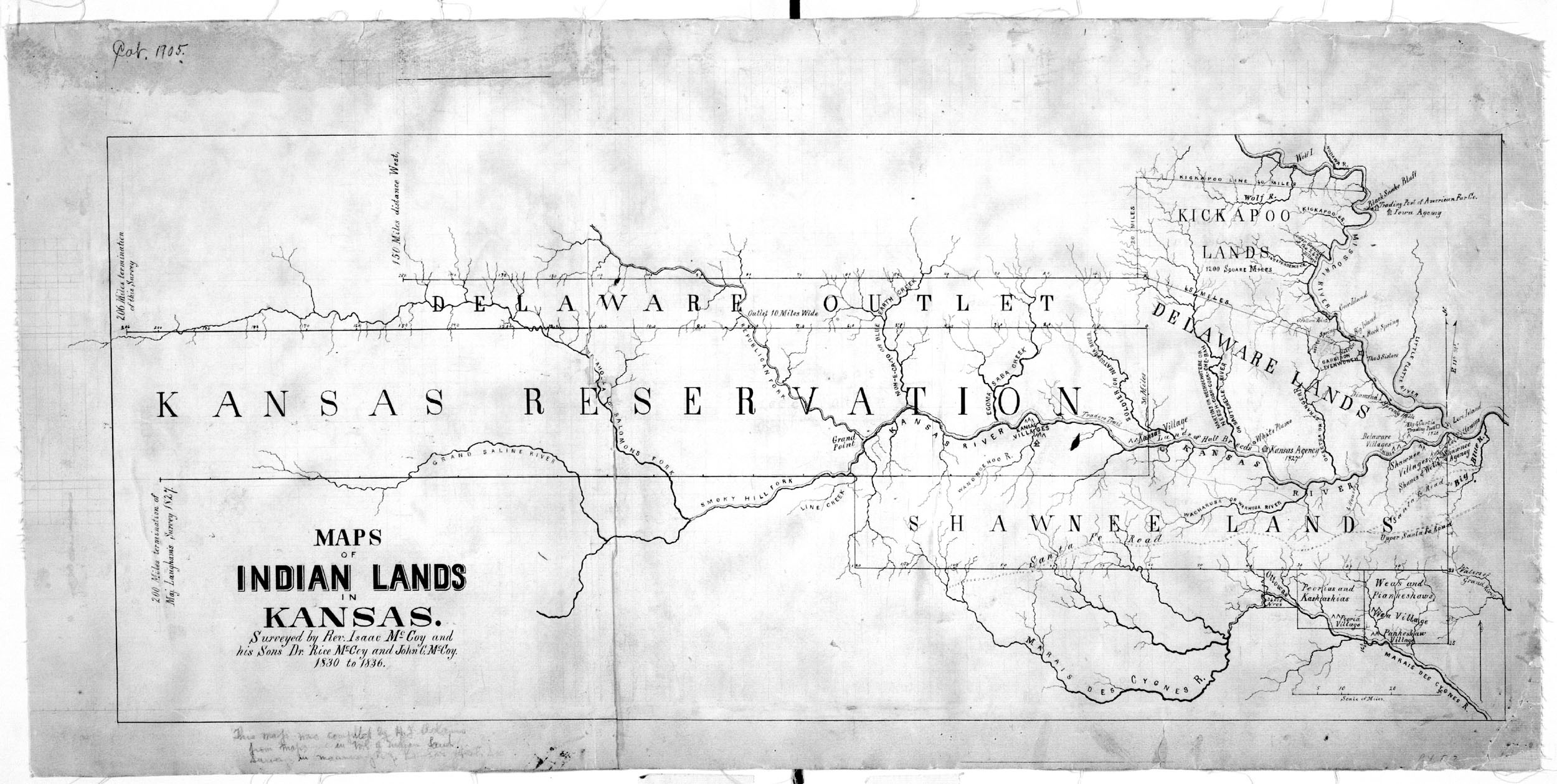 Map of Indian lands in Kansas - Kansas Memory - Kansas Historical ...