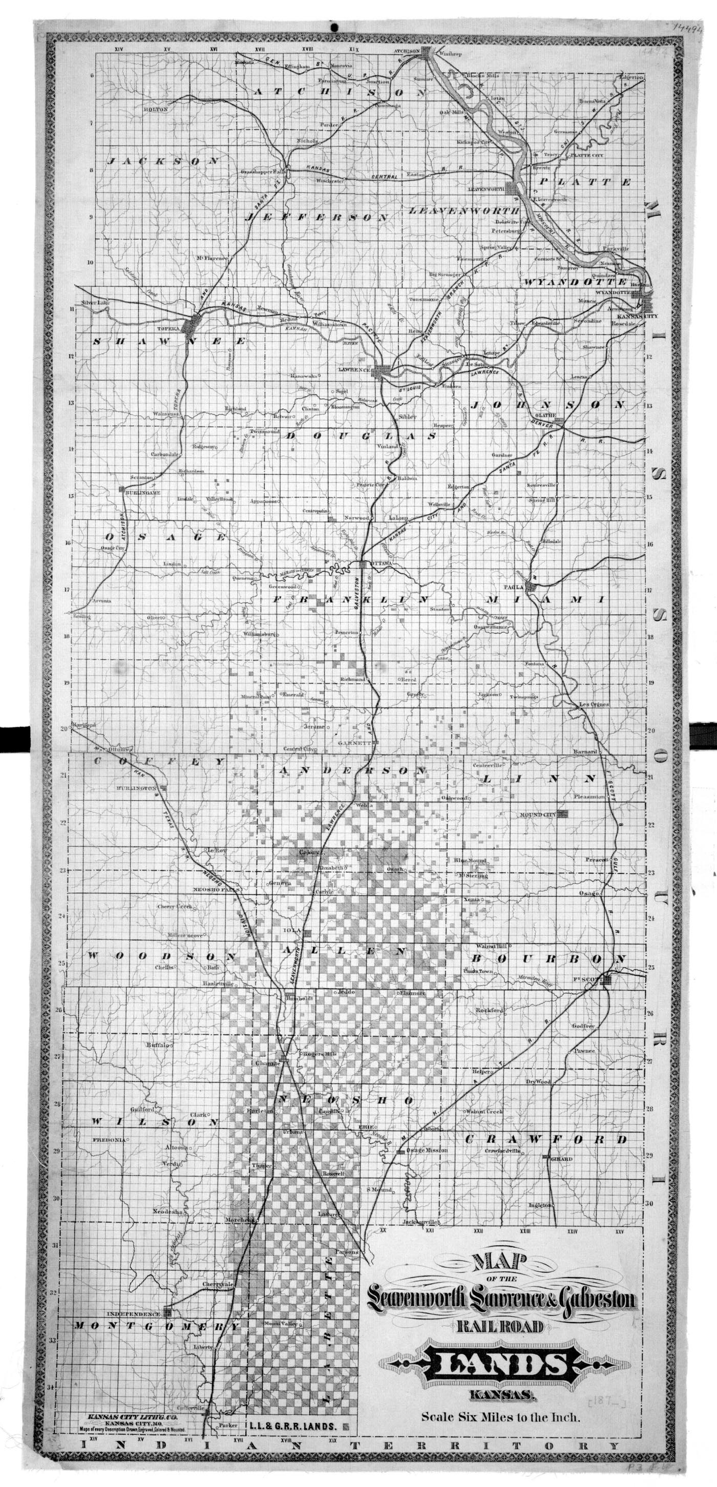 Map of the Leavenworth, Lawrence & Galveston Railroad lands