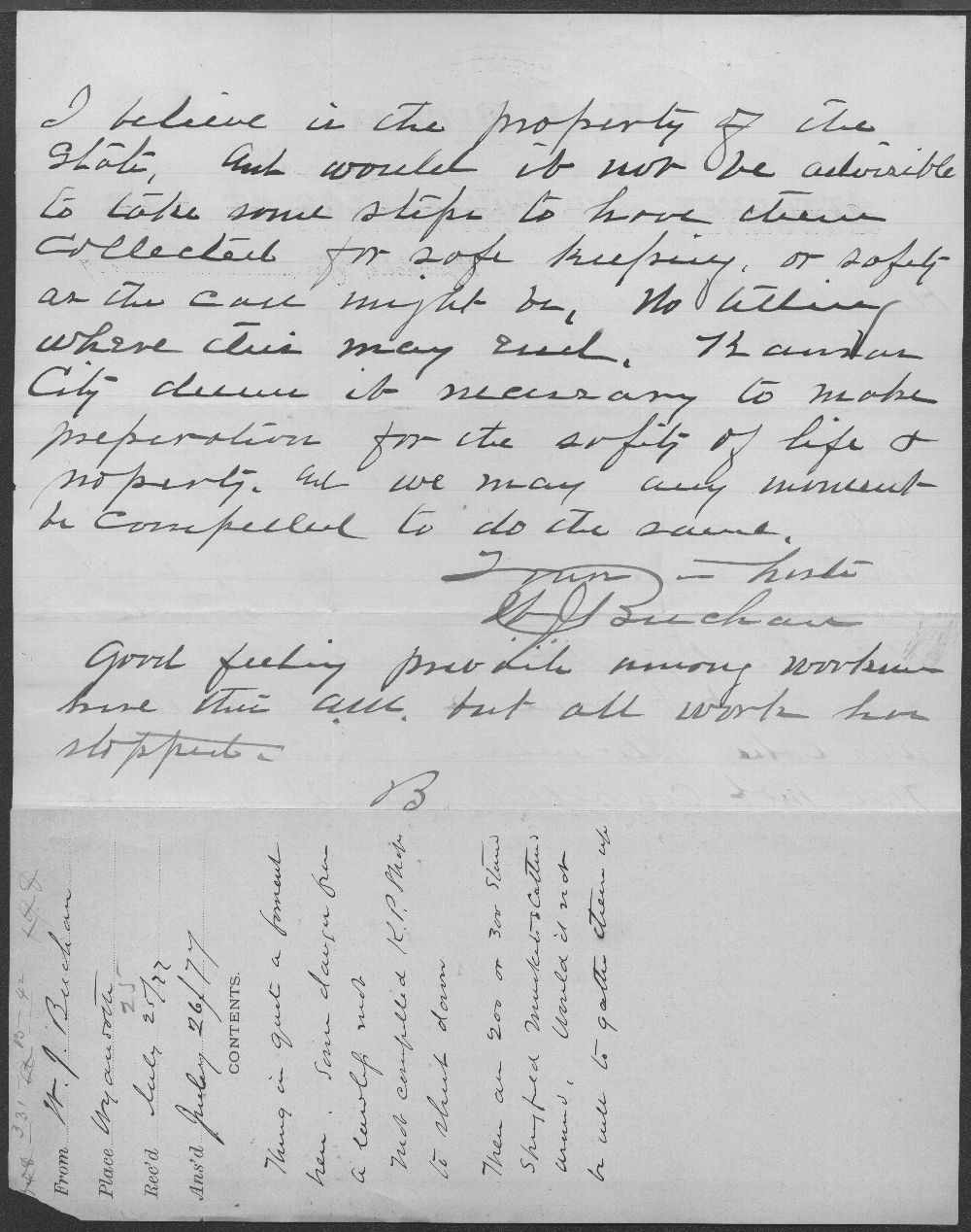 W. J. Buchan to Governor George Anthony - 2