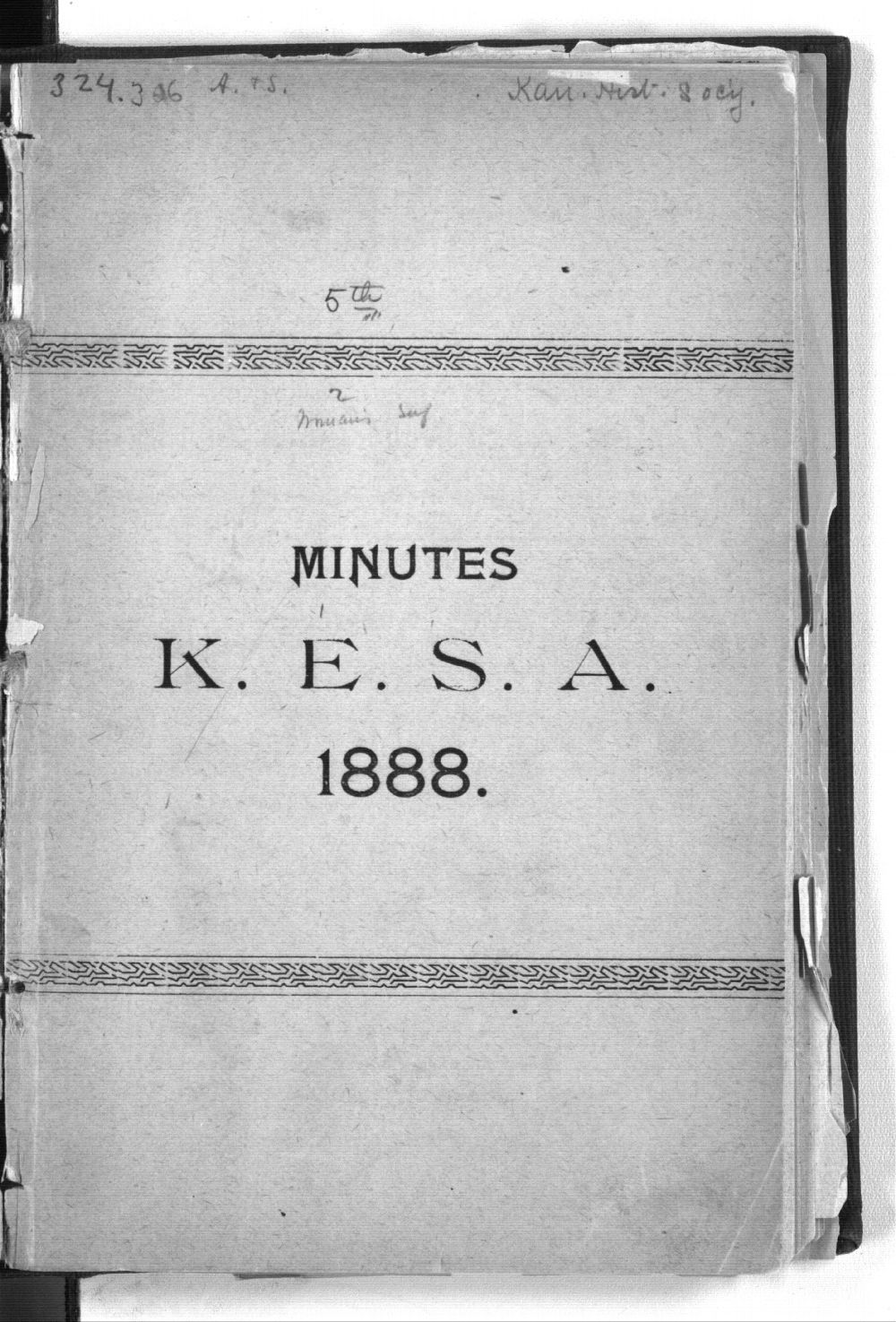 Minutes of the Kansas Equal Suffarge Association at the fifth annual meeting - Front Cover