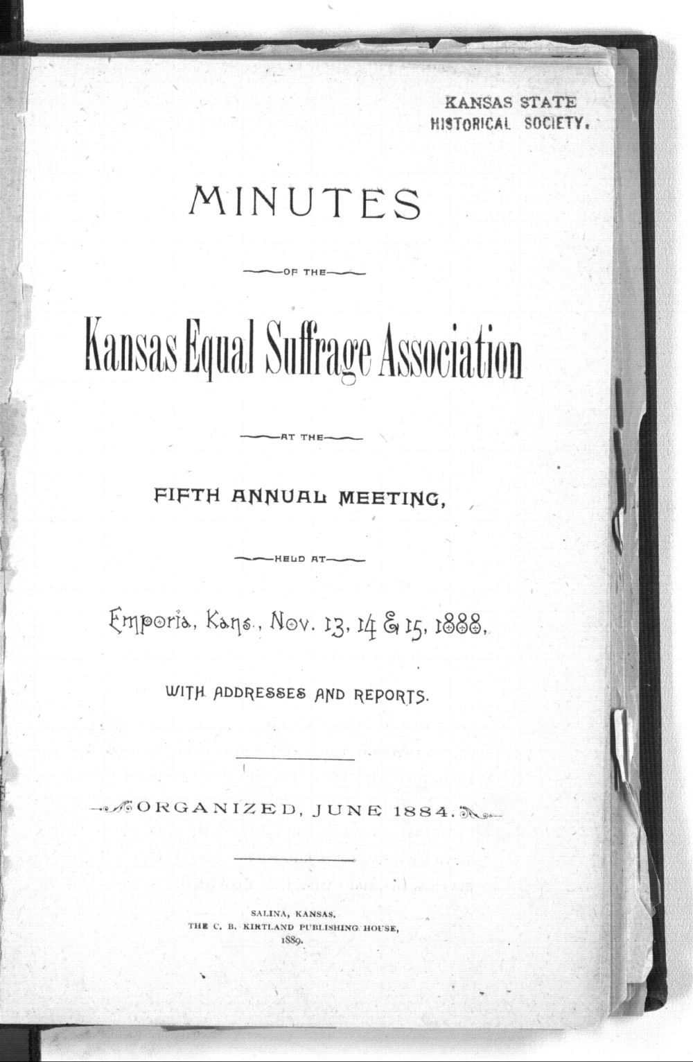 Minutes of the Kansas Equal Suffarge Association at the fifth annual meeting - Title Page