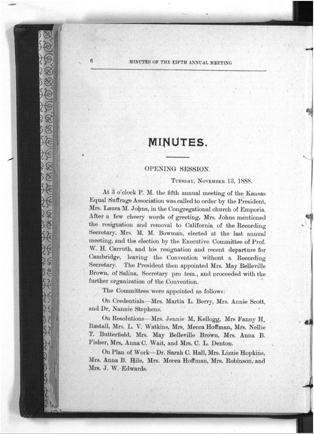 Minutes of the Kansas Equal Suffarge Association at the fifth annual meeting - 6