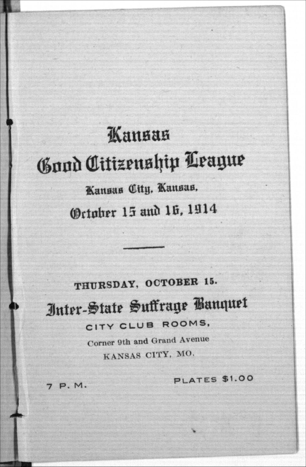 Kansas Good Citizenship League, Inter-State Suffrage Banquet - 2