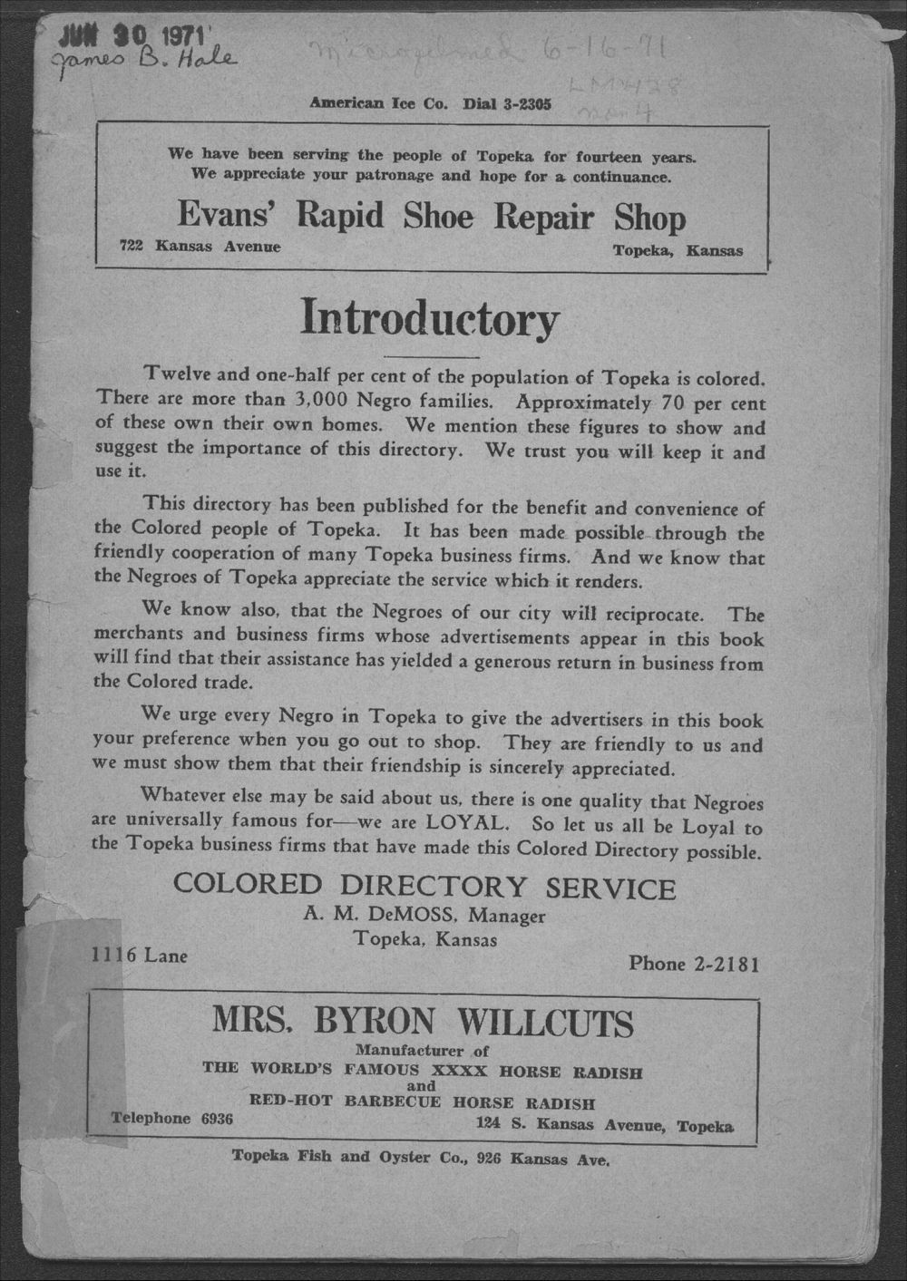 Colored Directory, Topeka, Kansas - Introductory