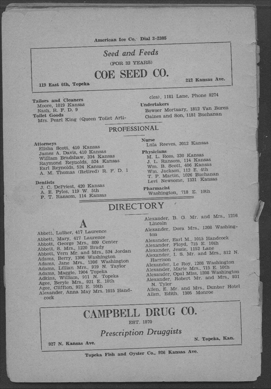Colored Directory, Topeka, Kansas - 8