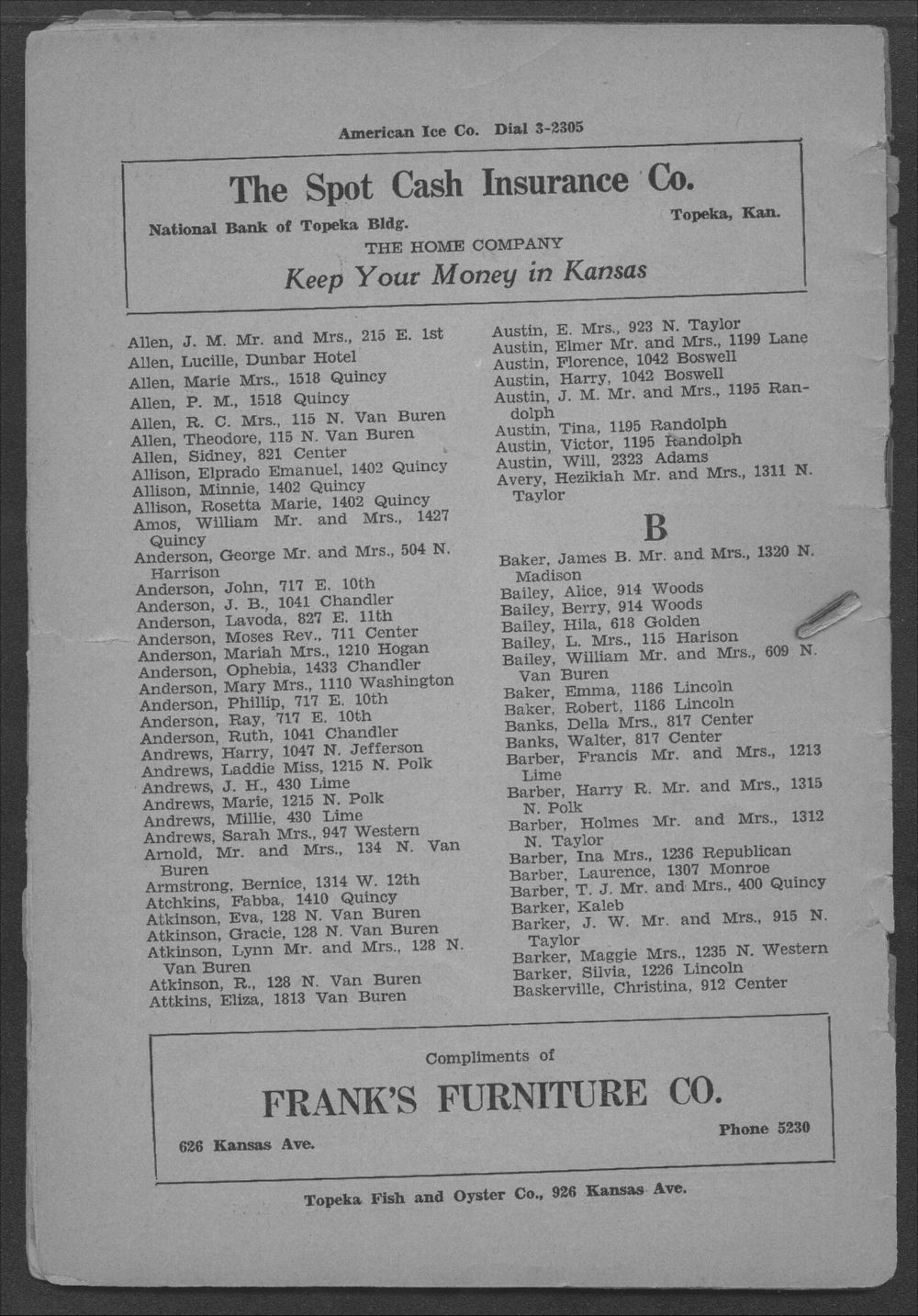 Colored Directory, Topeka, Kansas - 10