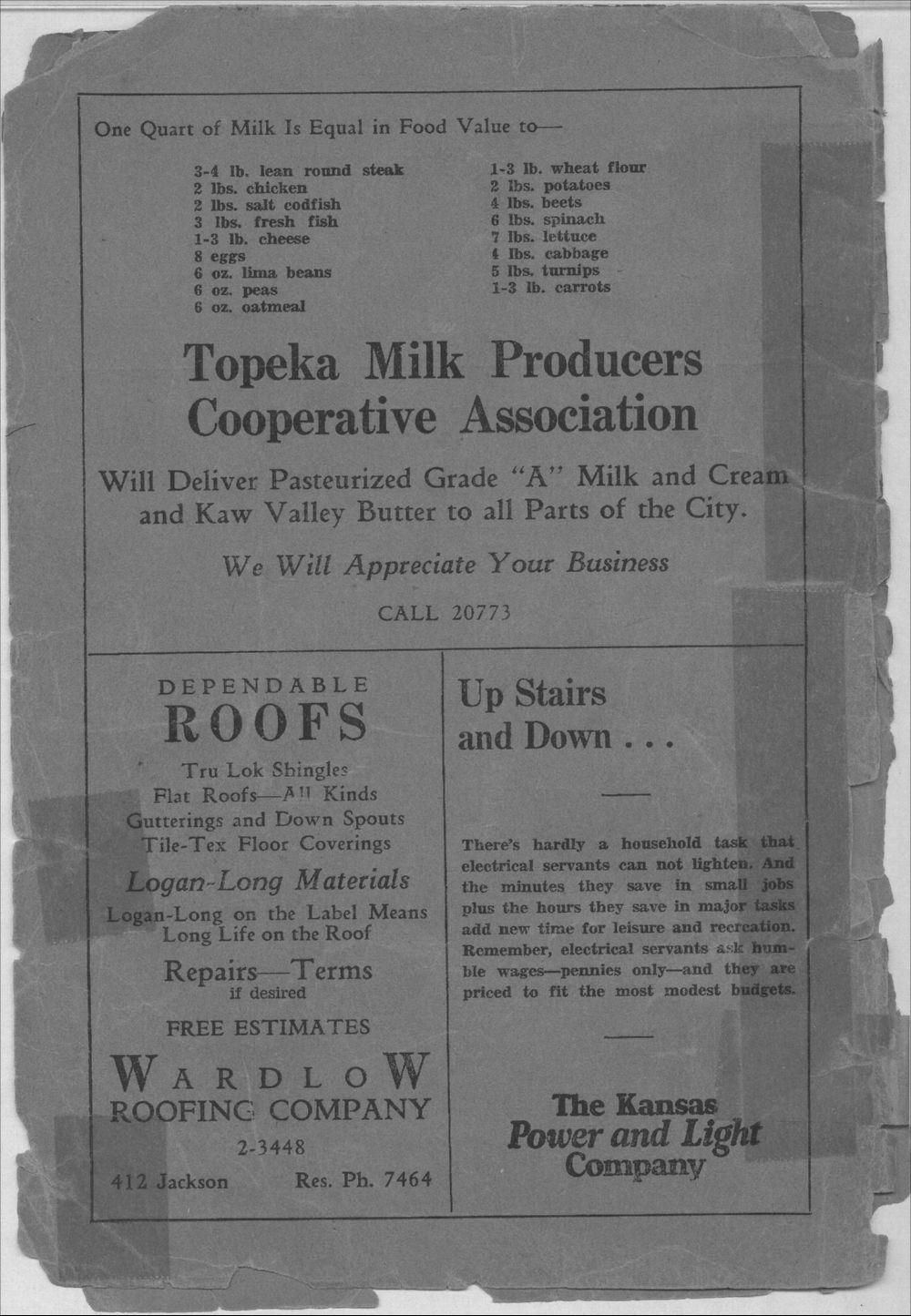 Colored Directory, Topeka, Kansas - Back Cover